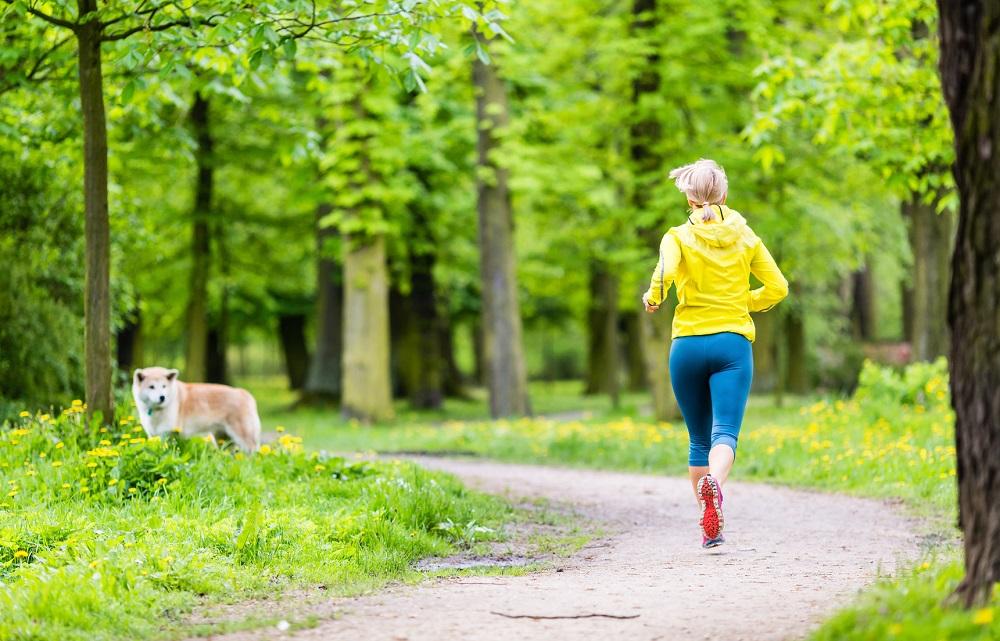 Cane che guarda una ragazza che corre in un parco
